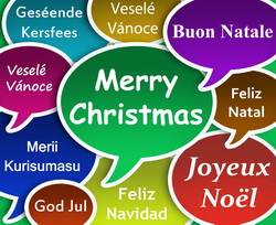 Illustration of Merry Christmass in many languages